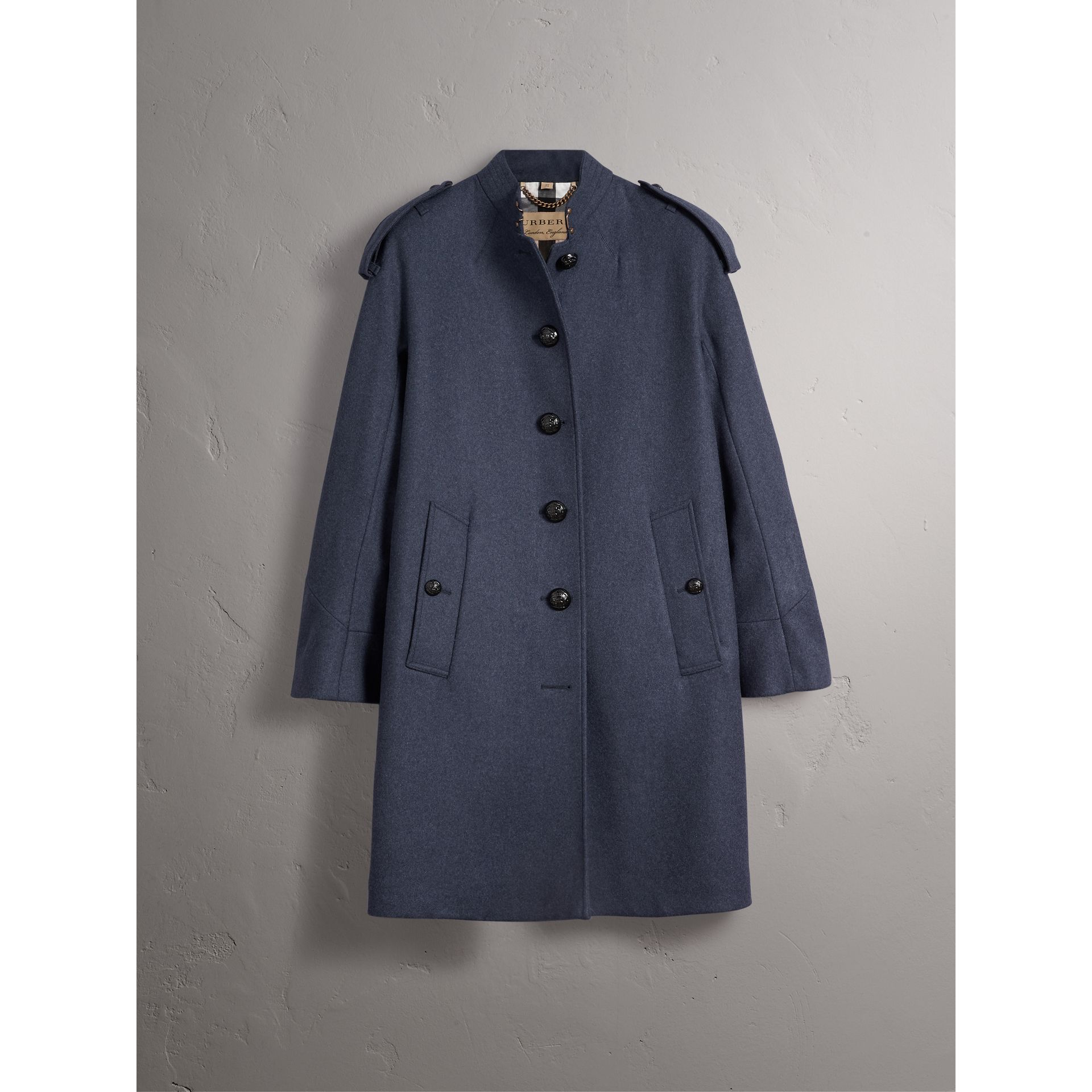 Collarless Wool Blend Coat in Storm Blue Melange - Women | Burberry - gallery image 4