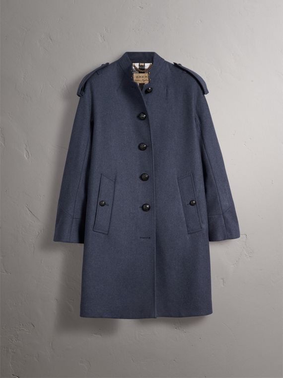 Collarless Wool Blend Coat in Storm Blue Melange - Women | Burberry - cell image 3