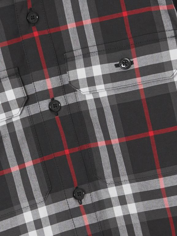 Vintage Check Cotton Shirt in Black | Burberry - cell image 1
