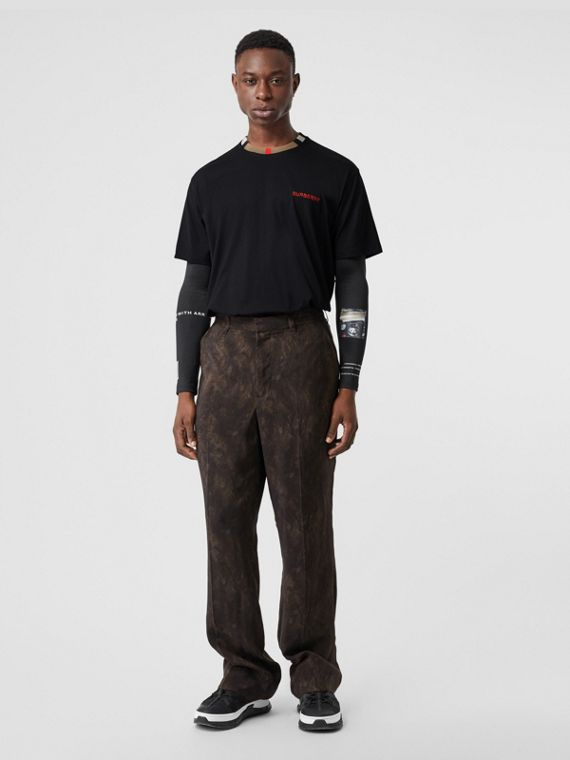Icon Stripe Detail Cotton T-shirt in Black