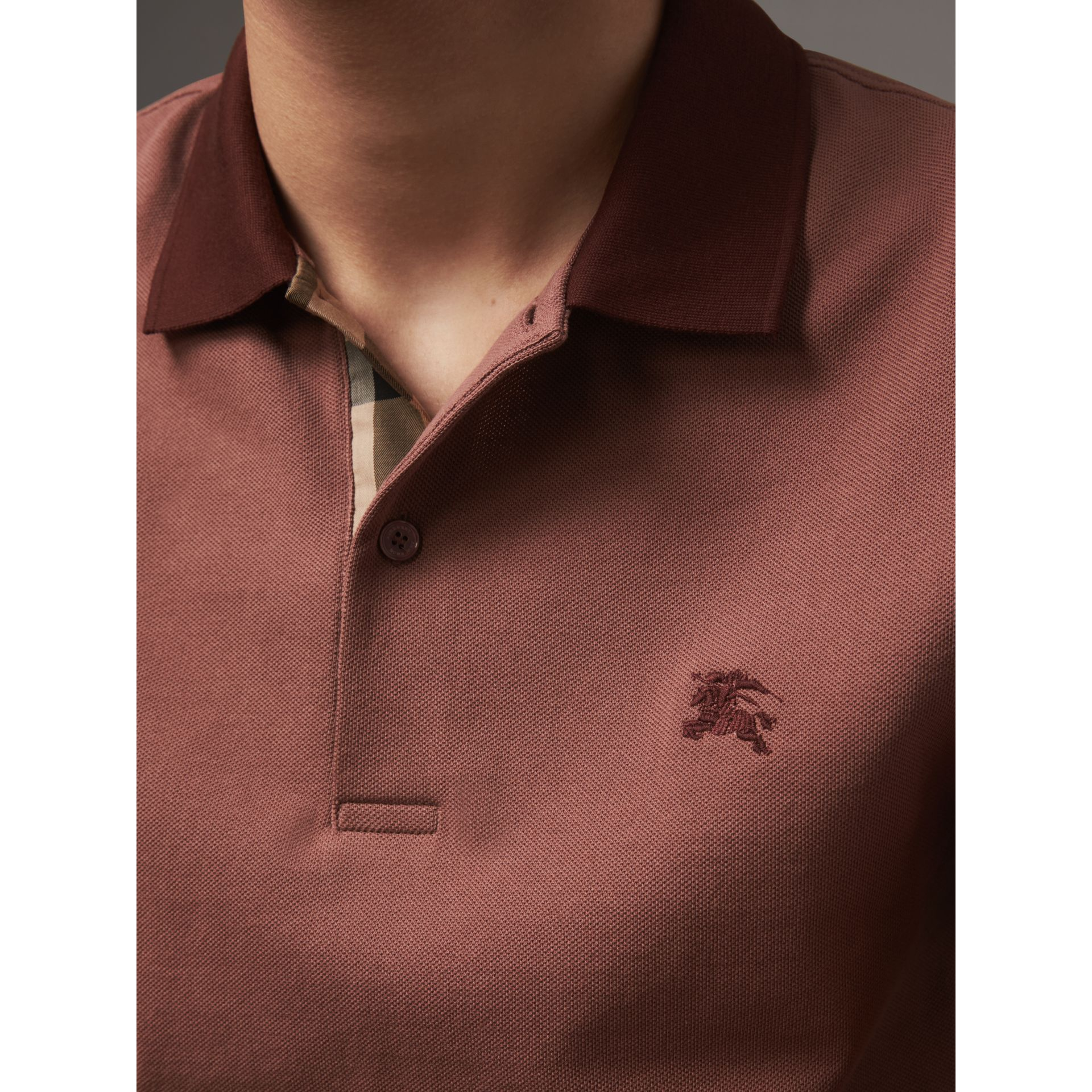 Cotton Piqué Polo Shirt in Rosewood - Men | Burberry - gallery image 2