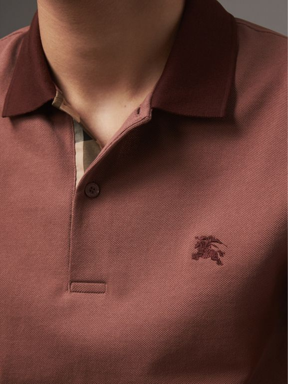 Cotton Piqué Polo Shirt in Rosewood - Men | Burberry United Kingdom - cell image 1