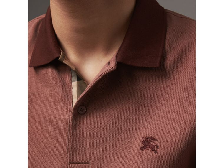Cotton Piqué Polo Shirt in Rosewood - Men | Burberry - cell image 1