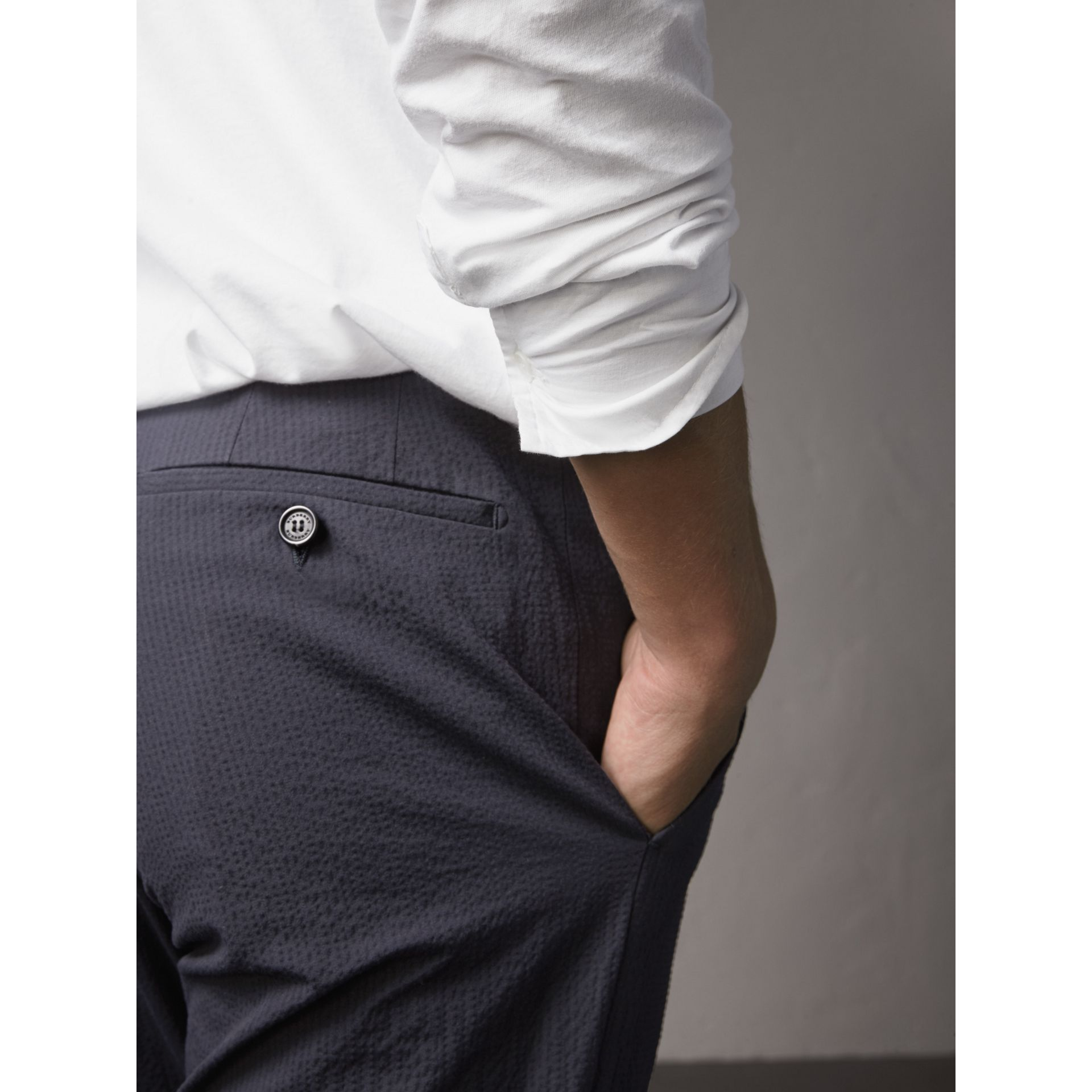 Slim Fit Textured Stretch Cotton Trousers in Navy - Men | Burberry - gallery image 2