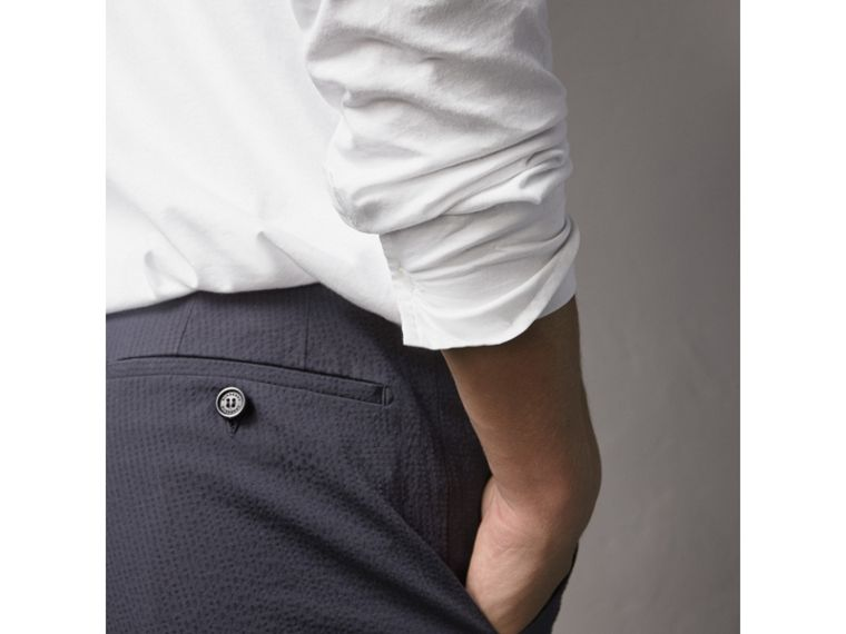 Slim Fit Textured Stretch Cotton Trousers in Navy - Men | Burberry - cell image 1