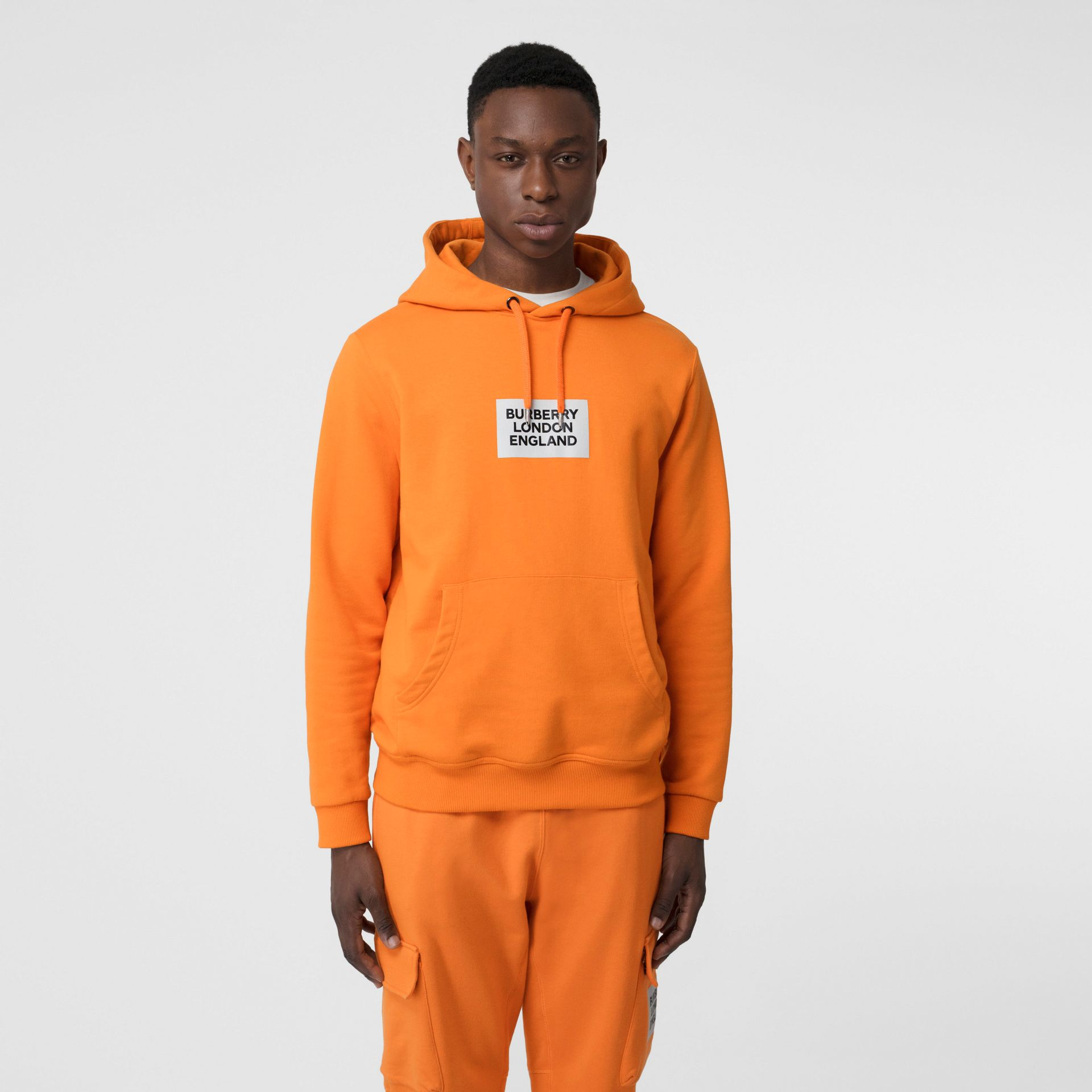 Logo Print Cotton Hoodie in Bright Orange - Men | Burberry - gallery image 0