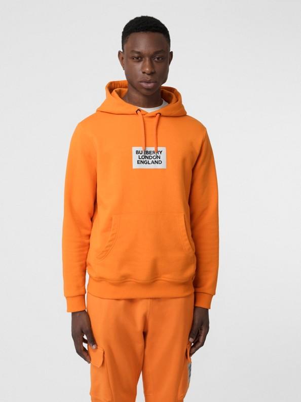 徽標印花棉質連帽衫 (亮橘色)