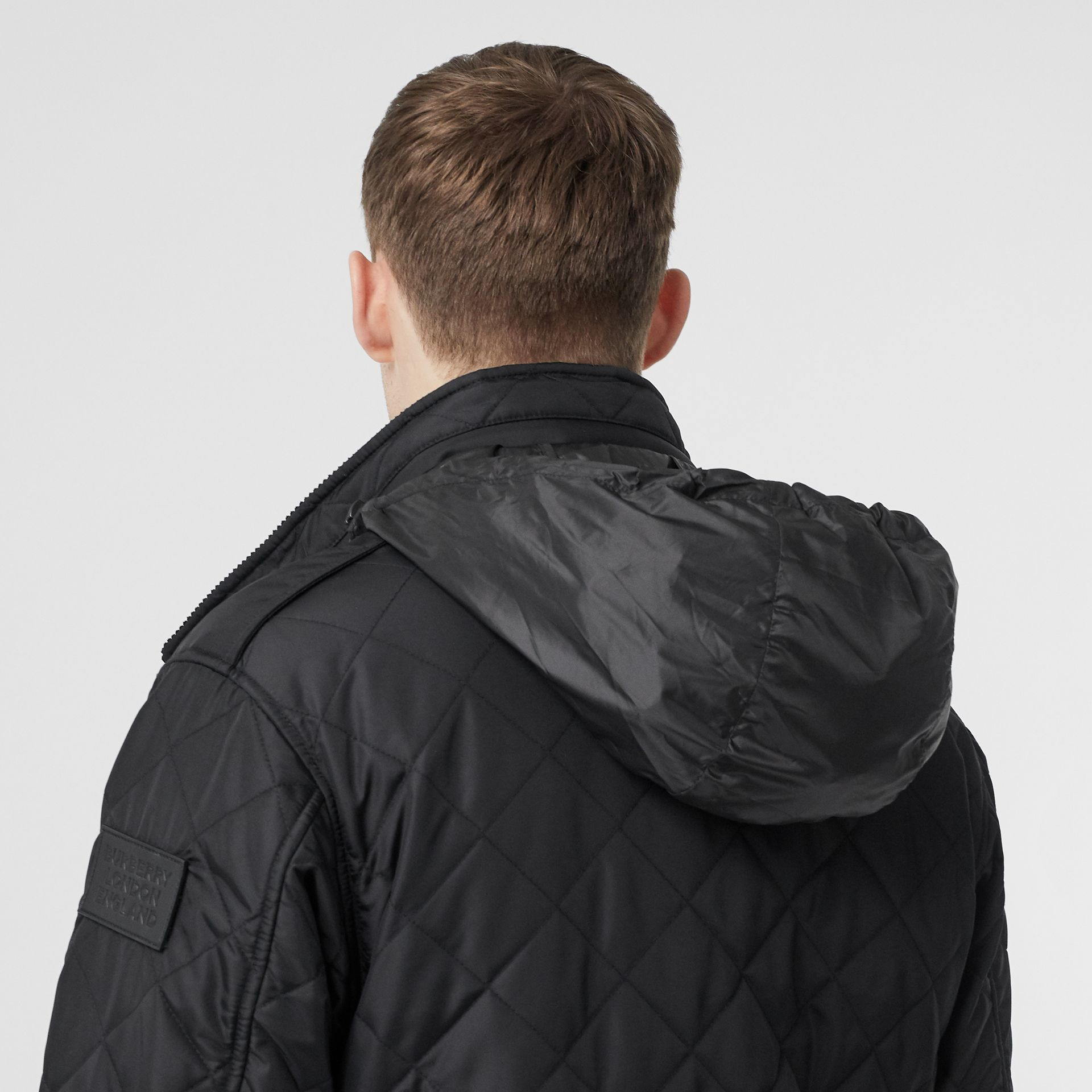 Packaway Hood Quilted Thermoregulated Field Jacket in Black - Men | Burberry Australia - gallery image 5