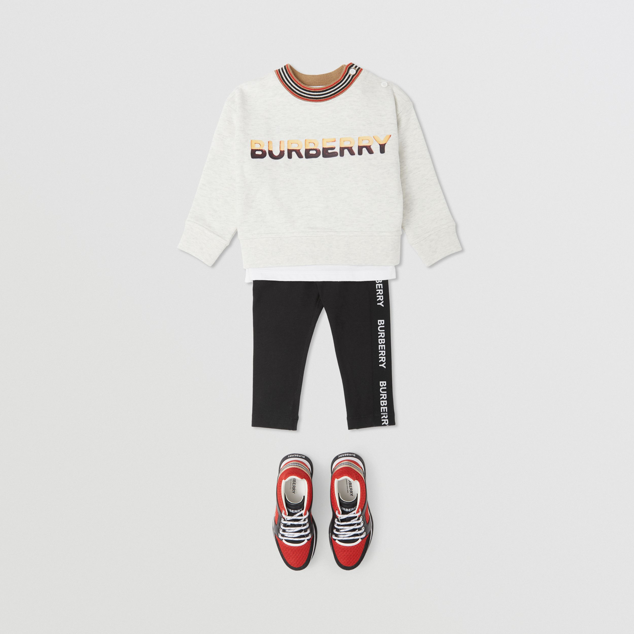 Confectionery Logo Print Cotton Sweatshirt in White Melange - Children | Burberry - 3