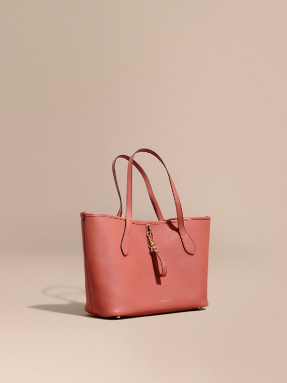 Medium Grainy Leather Tote Bag Cinnamon Red