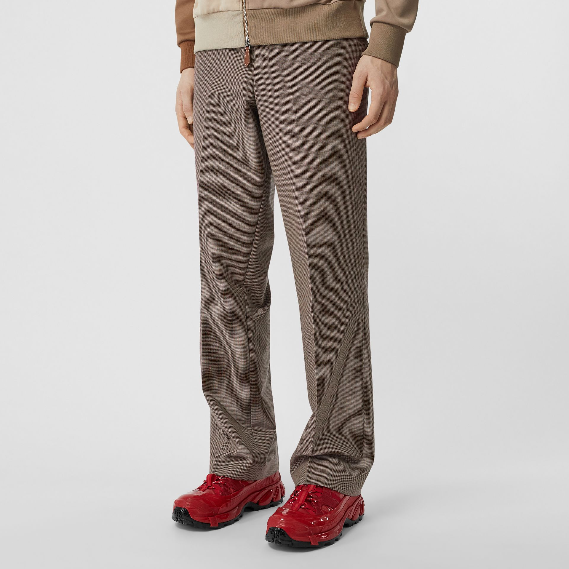 Pocket Detail Wool Tailored Trousers in Beige - Men | Burberry - gallery image 5
