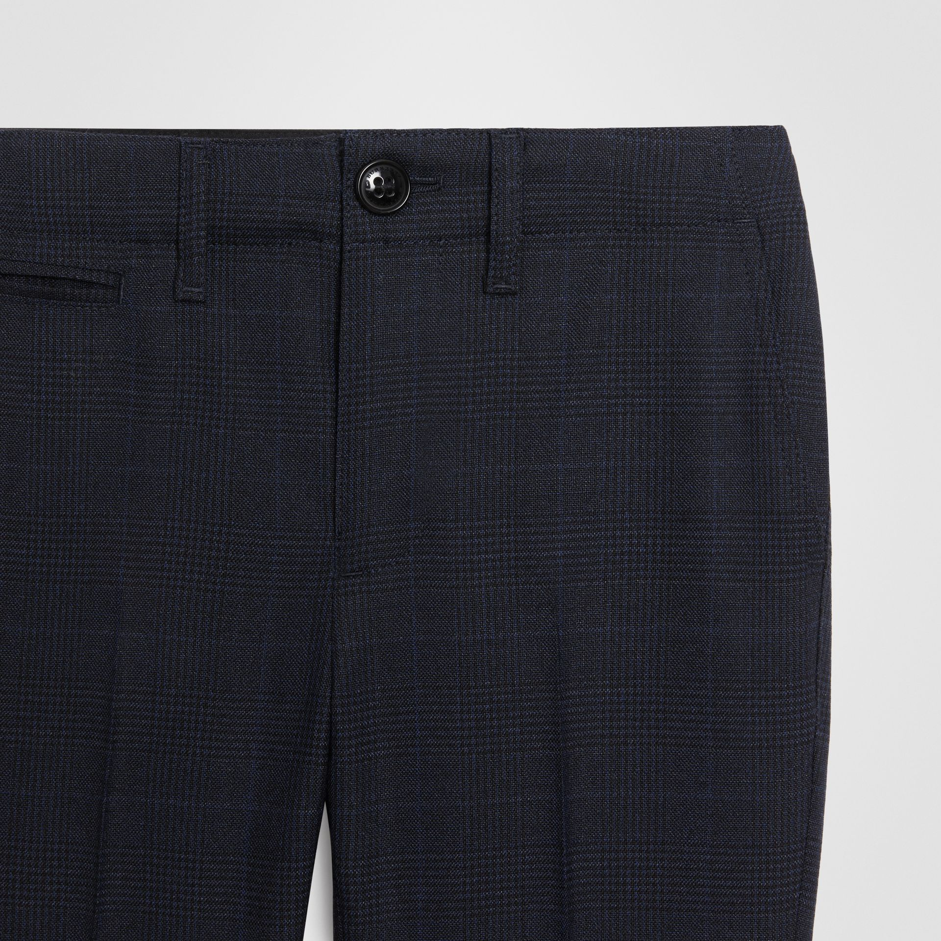 Prince of Wales Check Wool Tailored Trousers in Bright Navy | Burberry Canada - gallery image 4