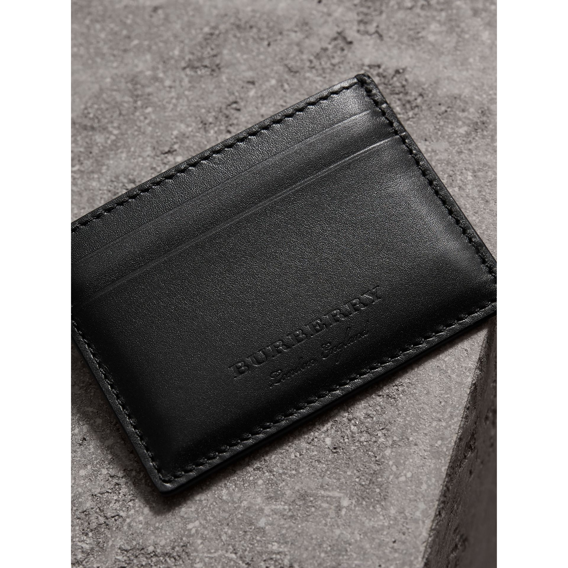 Riveted Leather Card Case in Black - Men | Burberry - gallery image 3