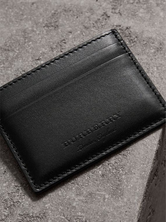 Riveted Leather Card Case in Black - Men | Burberry - cell image 2