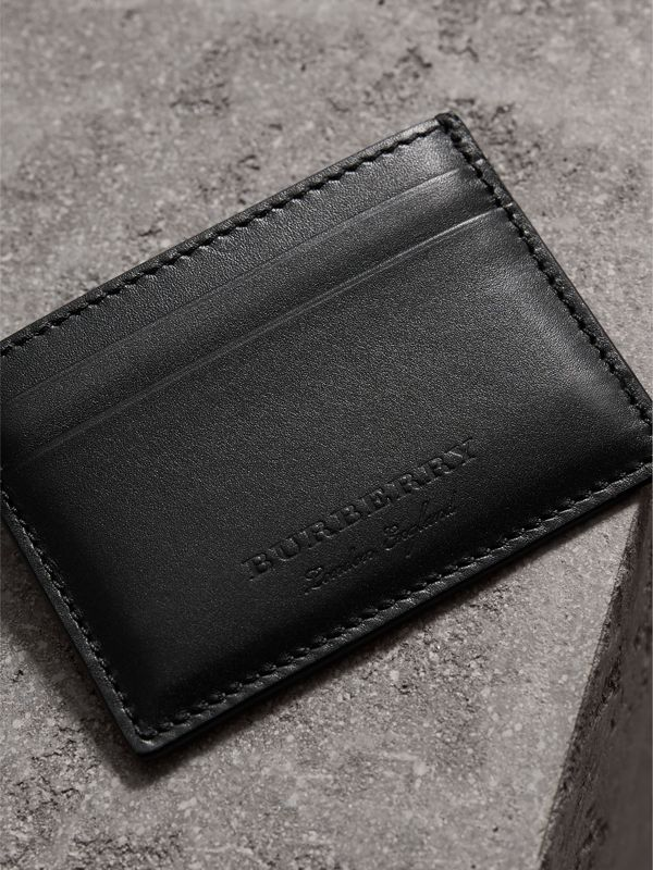 Riveted Leather Card Case in Black | Burberry - cell image 2