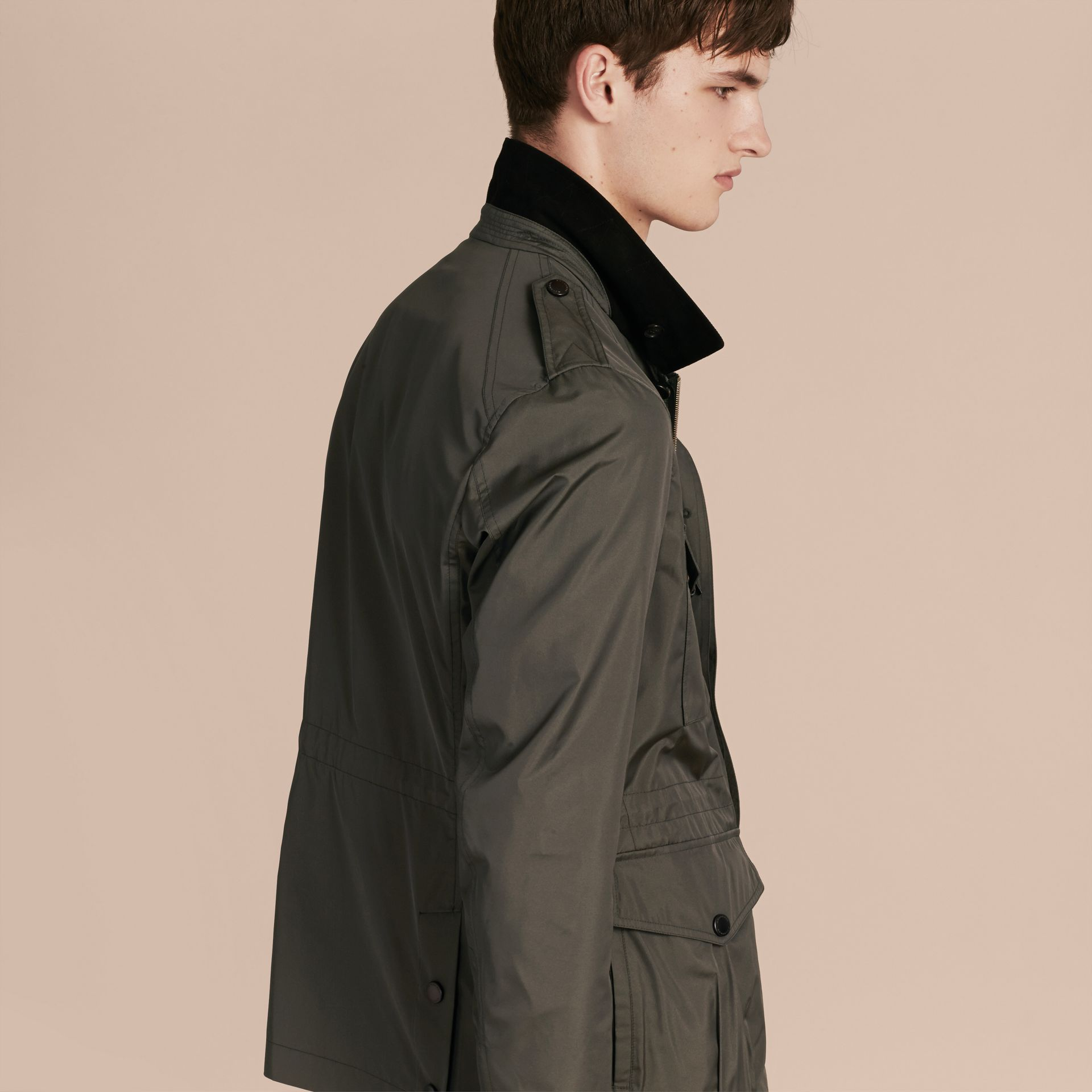 Green black Technical Silk Blend Field Jacket - gallery image 3