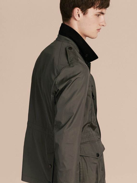 Green black Technical Silk Blend Field Jacket - cell image 2