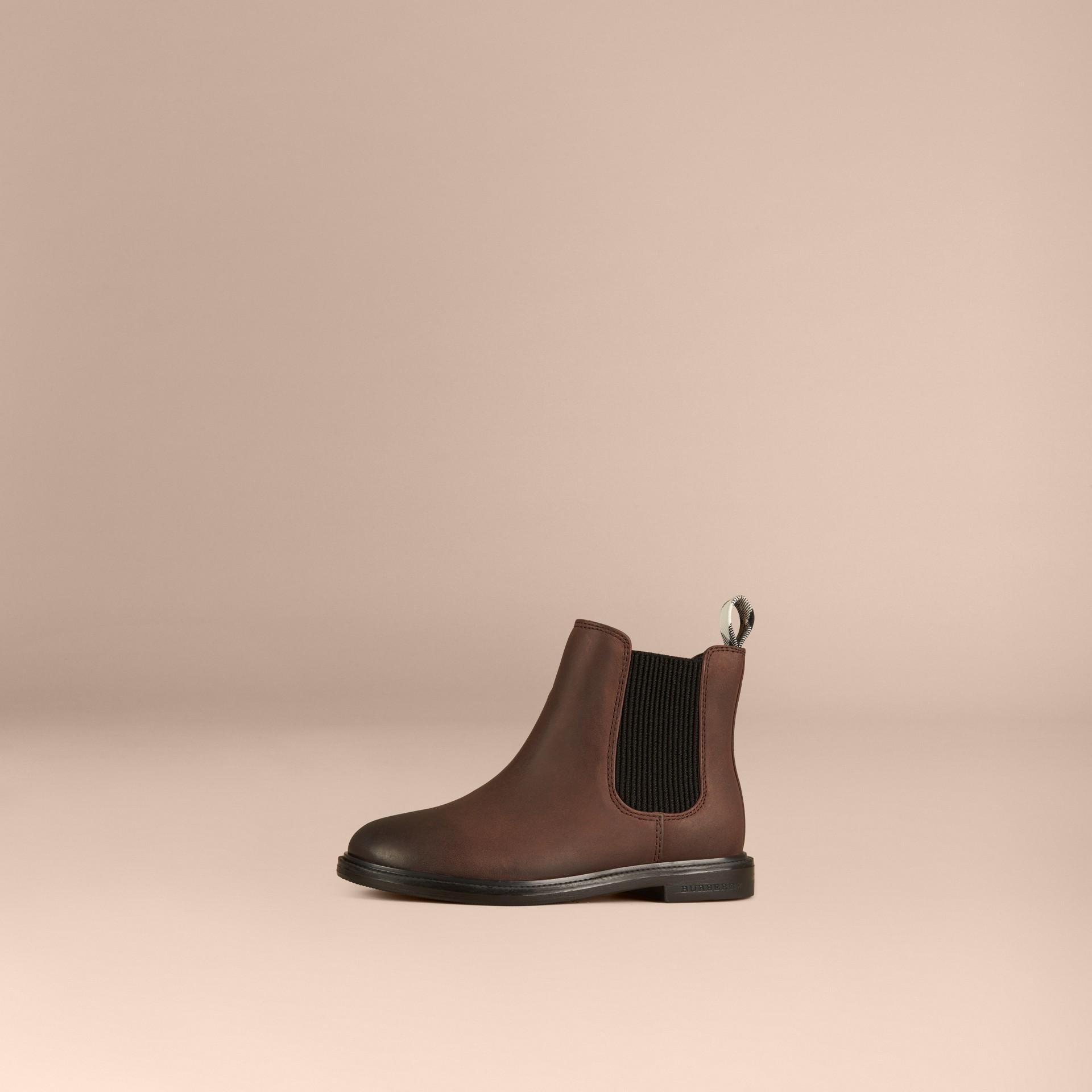 Edelschokoladenbraun Chelsea-Stiefel aus Leder - Galerie-Bild 1
