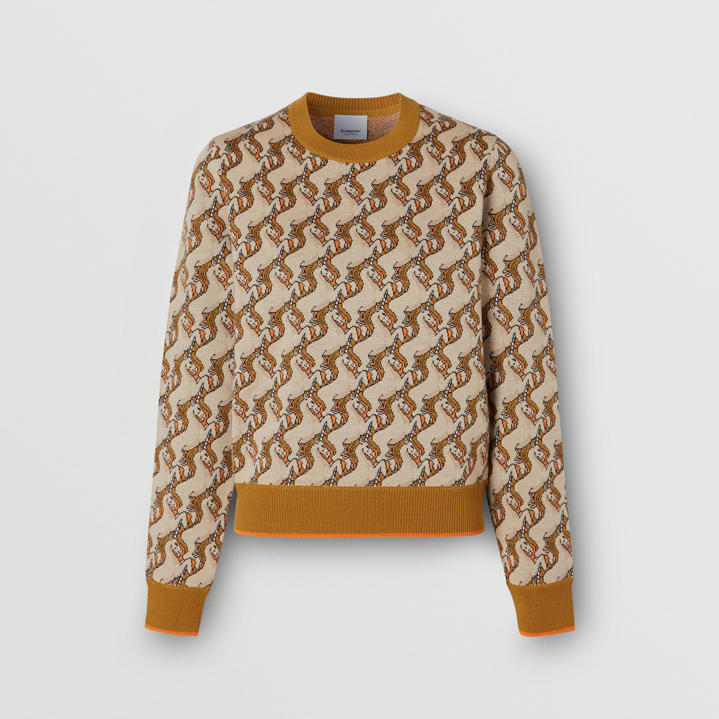 Unicorn Merino Wool Blend Jacquard Sweater in Ecru - Women | Burberry - 4