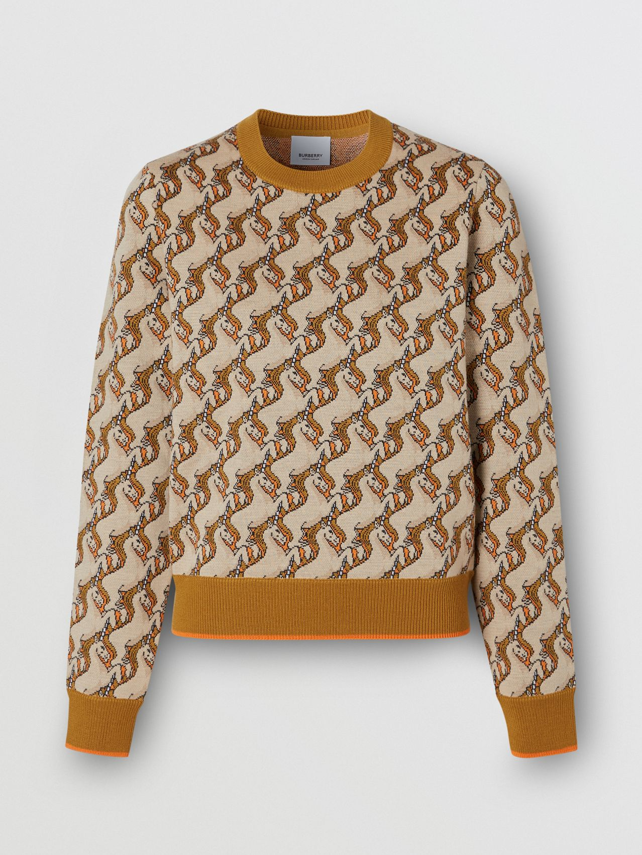 Unicorn Merino Wool Blend Jacquard Sweater (Ecru)