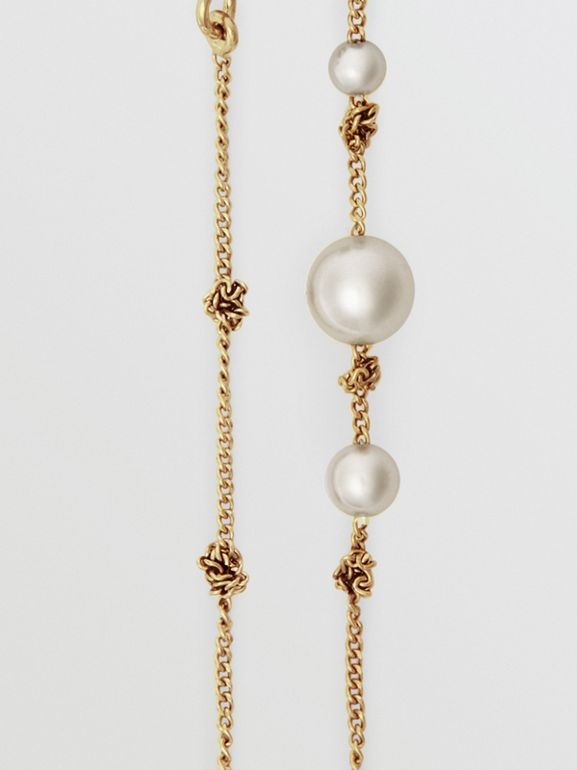 Faux Pearl Gold-plated Drop Earrings in Light - Women | Burberry United Kingdom - cell image 1