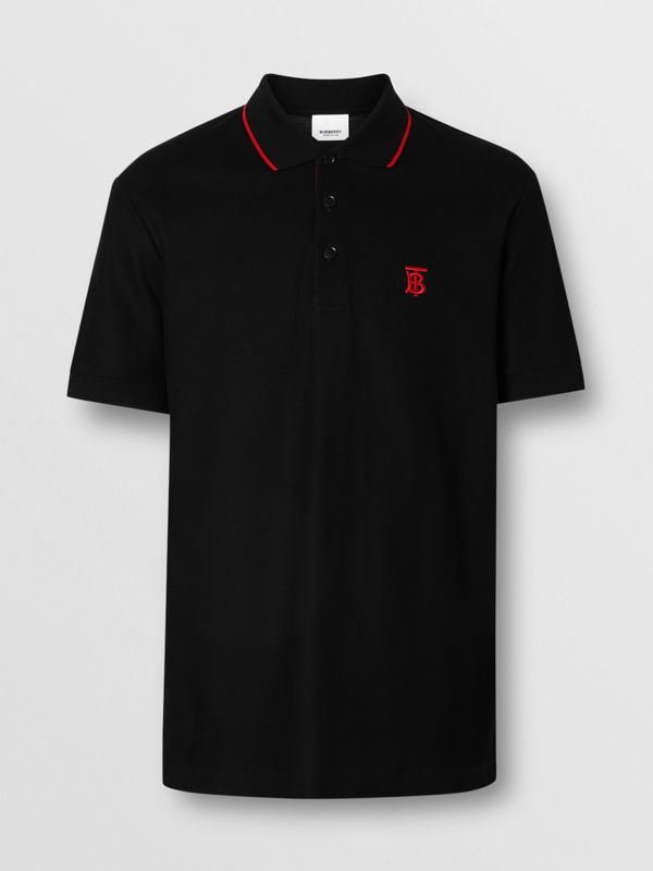 Icon Stripe Placket Cotton Piqué Polo Shirt in Black - Men | Burberry - cell image 3
