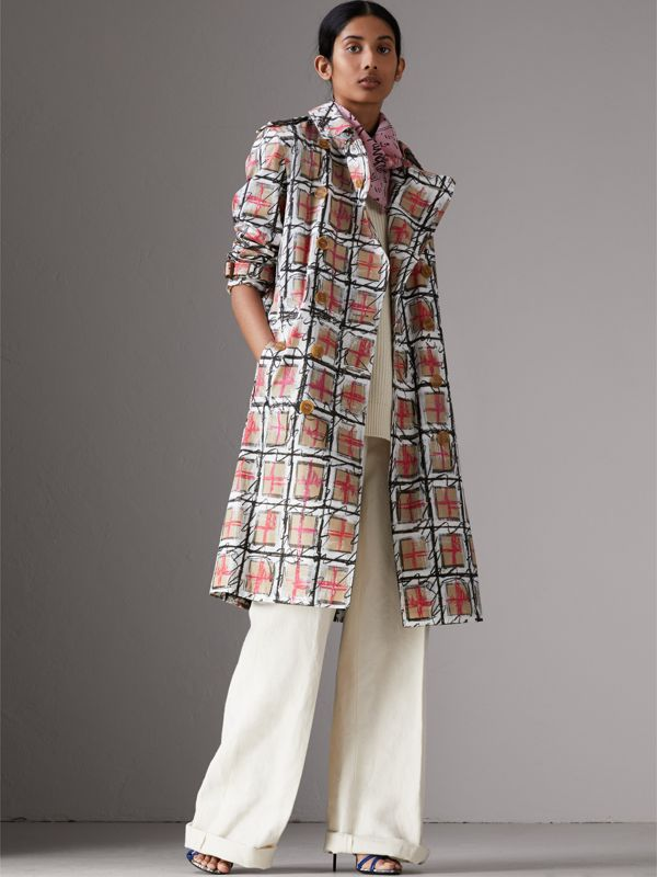 Postcard Print Silk Scarf in Bright Rose - Women | Burberry - cell image 2