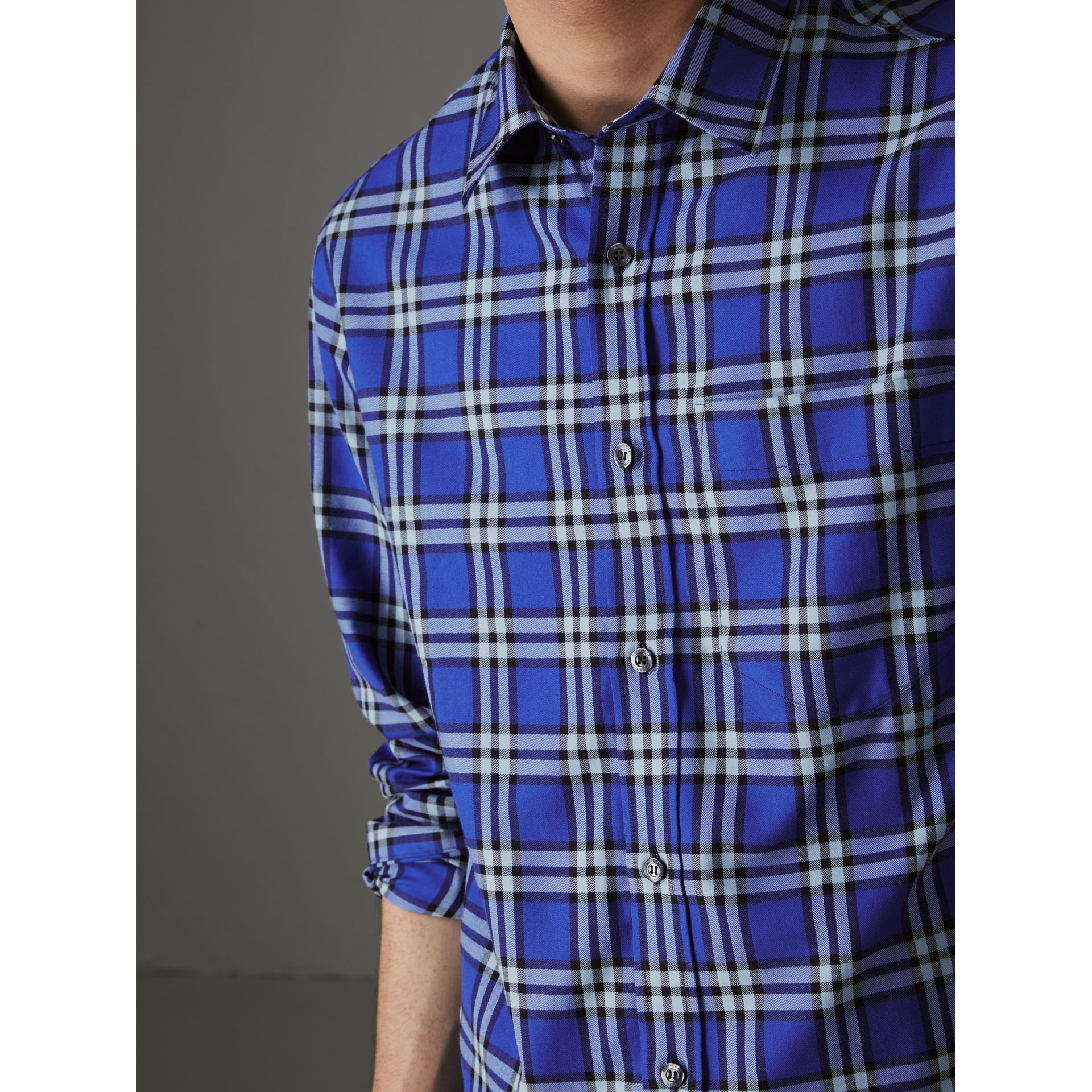 Check Cotton Shirt in Bright Lapis - Men | Burberry Australia - gallery image 1