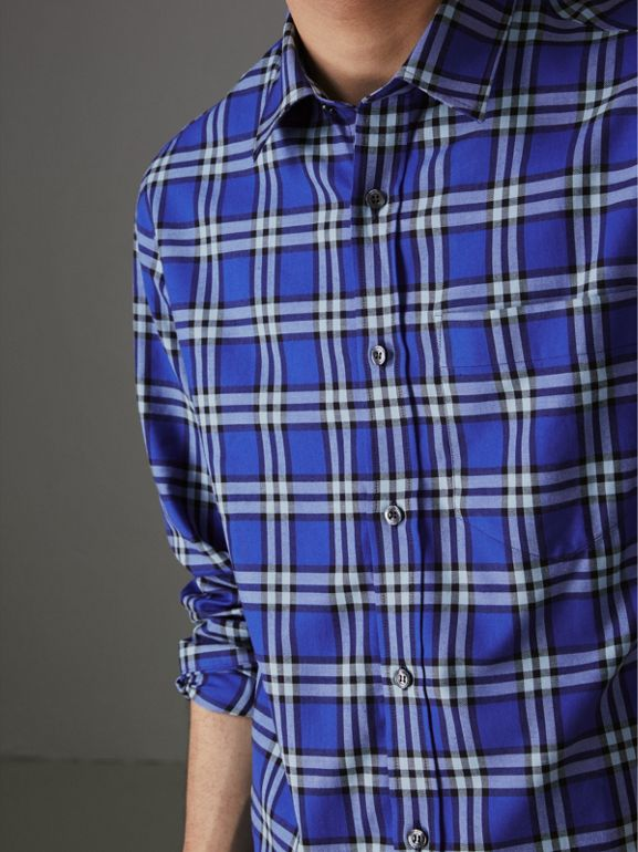 Check Cotton Shirt in Bright Lapis - Men | Burberry Hong Kong - cell image 1
