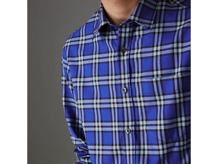 Check Cotton Shirt in Bright Lapis - Men | Burberry Australia - cell image 1