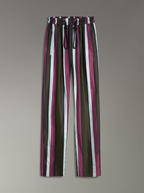 Striped Cotton Silk Satin Tailored Track Pants in Olive Stripe - Women | Burberry - cell image 3
