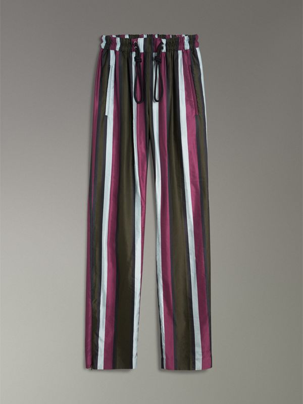 Striped Cotton Silk Satin Tailored Trackpants in Olive Stripe - Women | Burberry - cell image 3