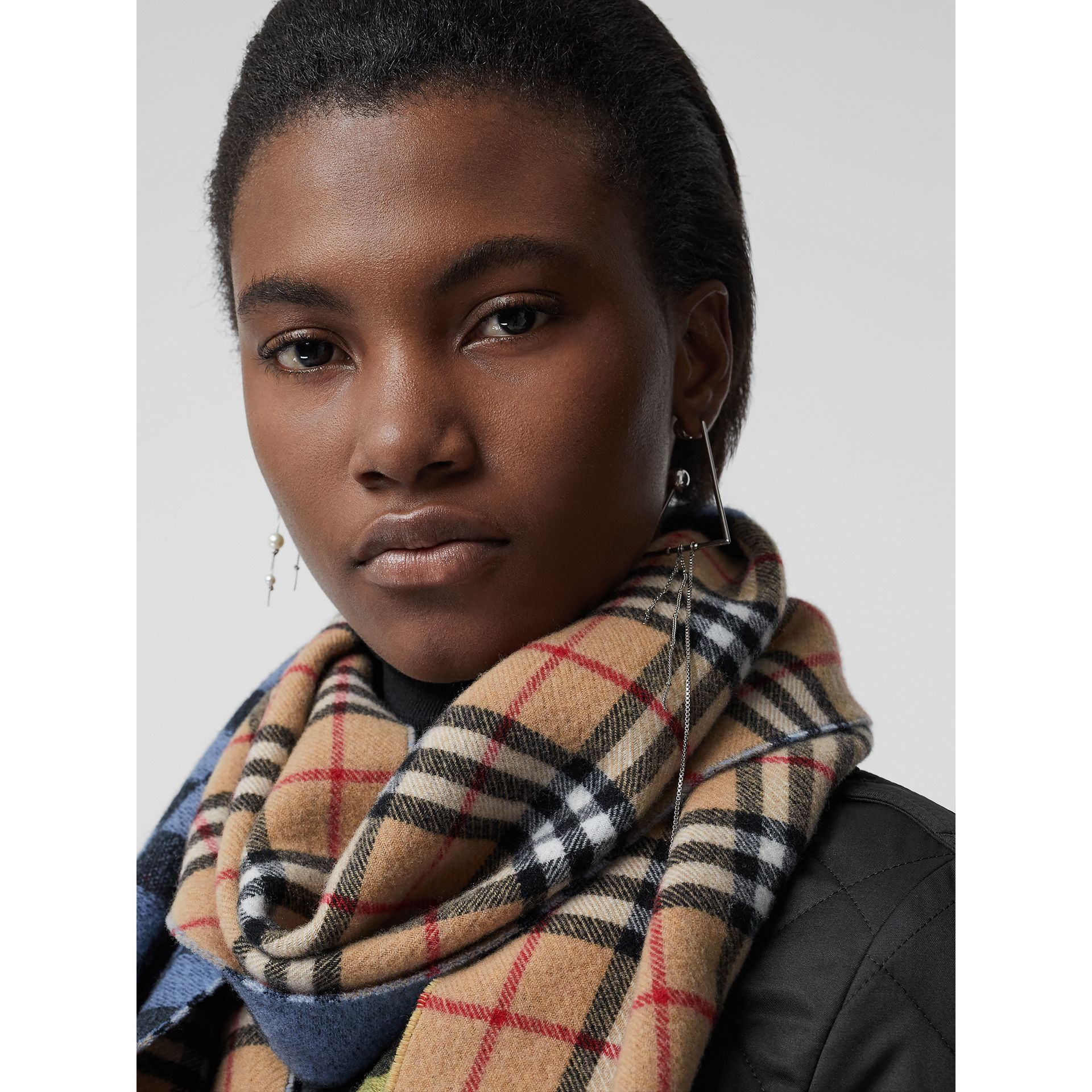 Vintage Check Colour Block Wool Cashmere Scarf in Antique Yellow | Burberry Canada - gallery image 5