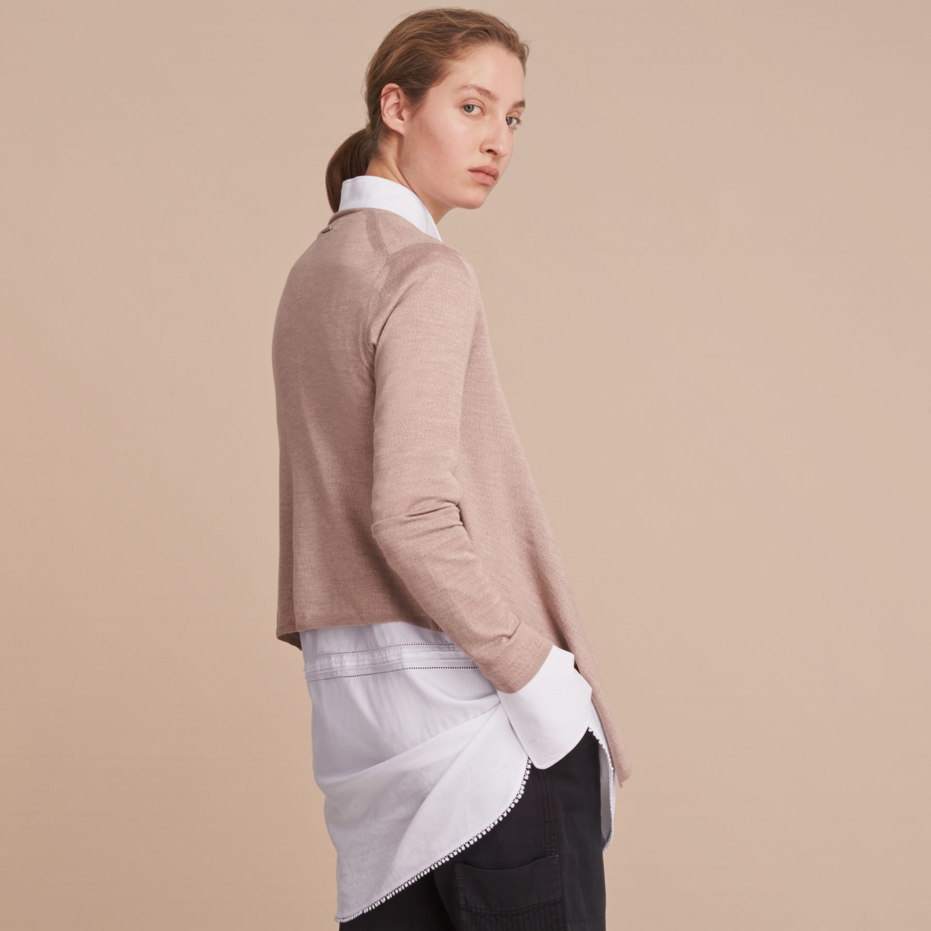 Merino Wool Silk Open Cardigan in Pale Taupe - Women | Burberry - gallery image 3