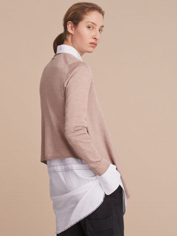 Merino Wool Silk Open Cardigan in Pale Taupe - Women | Burberry - cell image 2