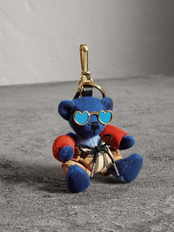 Thomas Bear Charm with Beachwear Detail in Cadet Blue