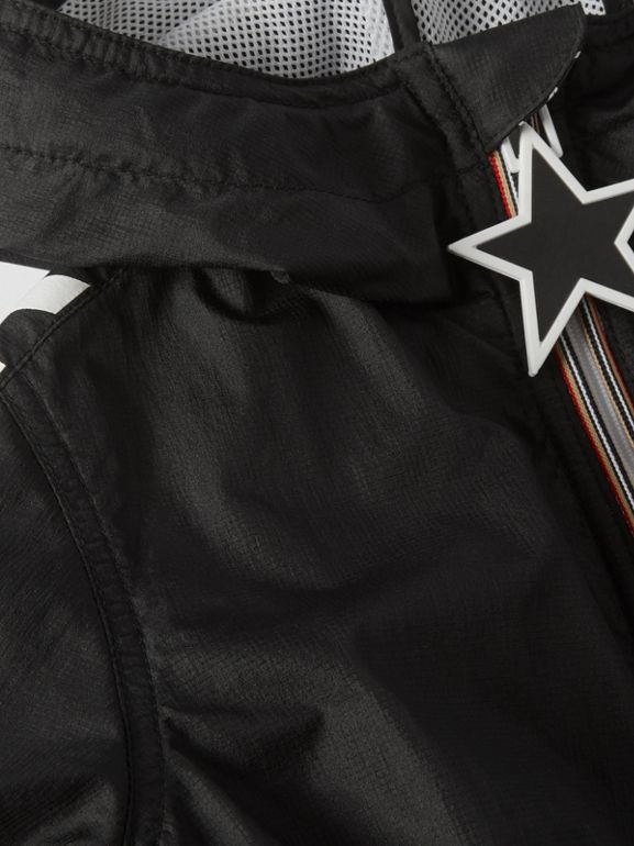 Star Detail Logo Print Lightweight Hooded Jacket in Black - Children | Burberry United Kingdom - cell image 1