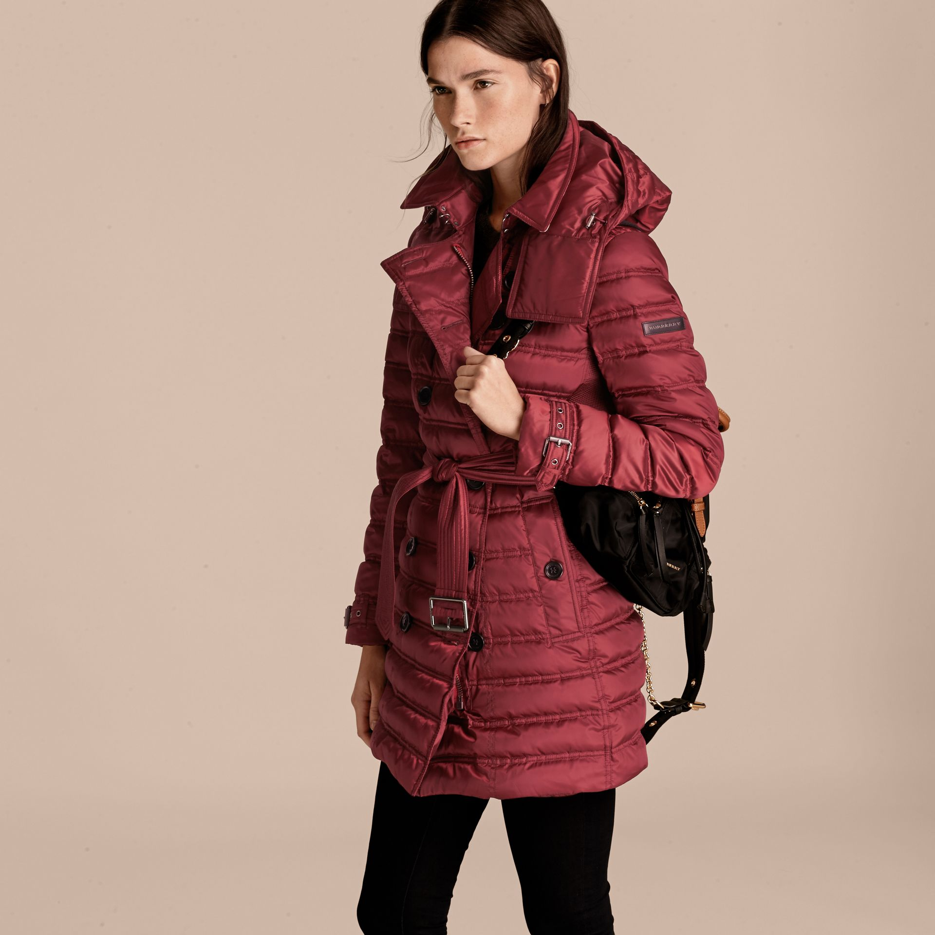 Dark crimson Down-filled Puffer Coat Dark Crimson - gallery image 7