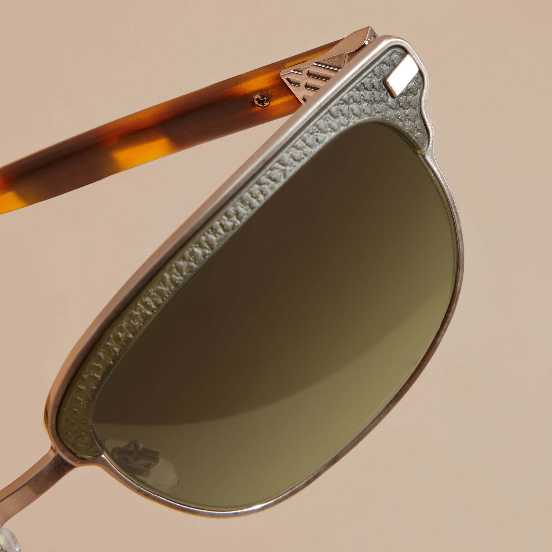Textured Front Square Frame Sunglasses in Dark Olive - Men | Burberry - gallery image 5