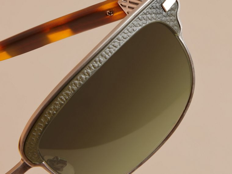 Textured Front Square Frame Sunglasses in Dark Olive - Men | Burberry - cell image 4