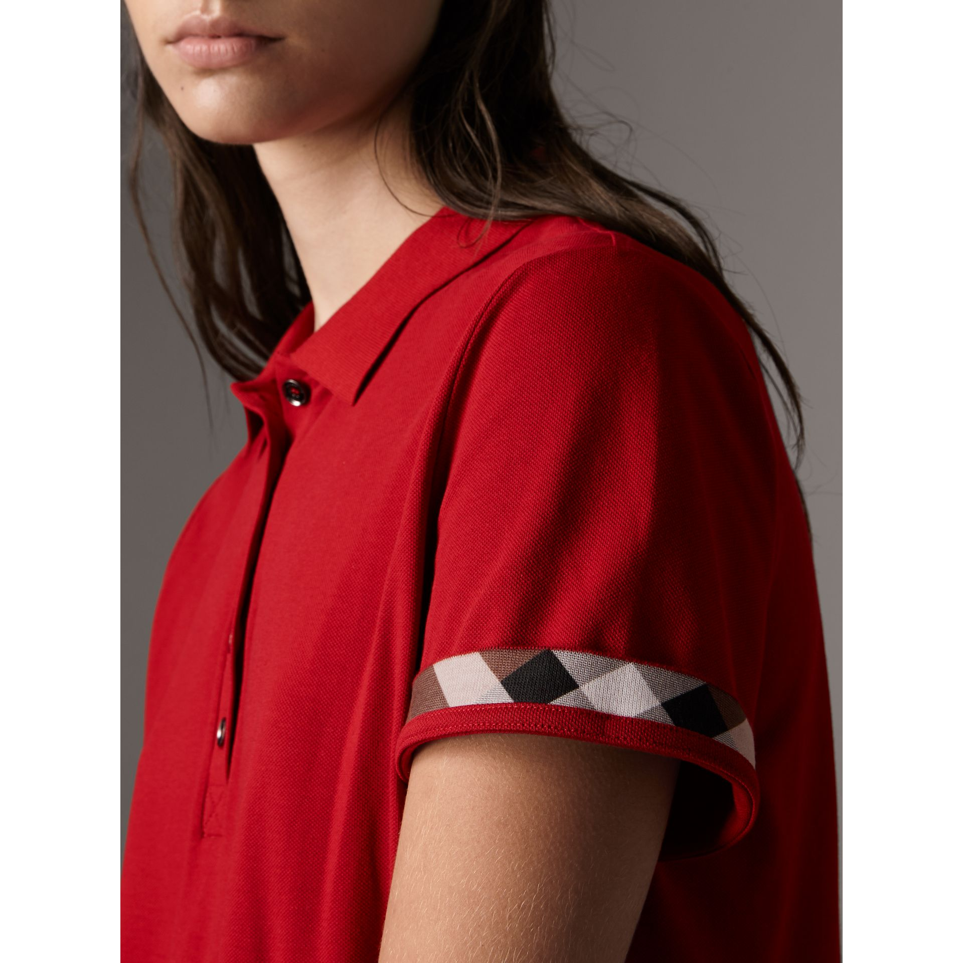 Check Trim Stretch Cotton Piqué Polo Shirt in Military Red - Women | Burberry - gallery image 1