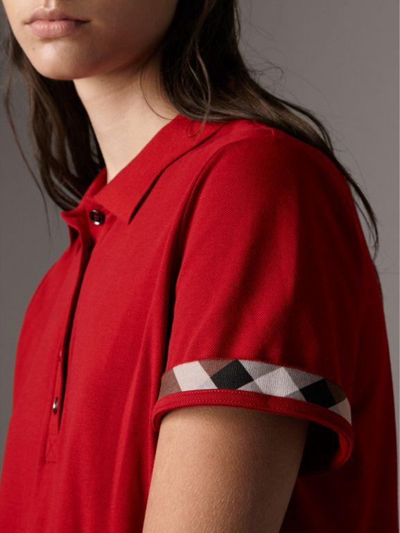 Check Trim Stretch Cotton Piqué Polo Shirt in Military Red - Women | Burberry United Kingdom - cell image 1