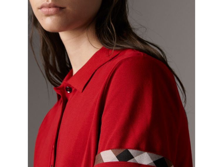 Check Trim Stretch Cotton Piqué Polo Shirt in Military Red - Women | Burberry Singapore - cell image 1
