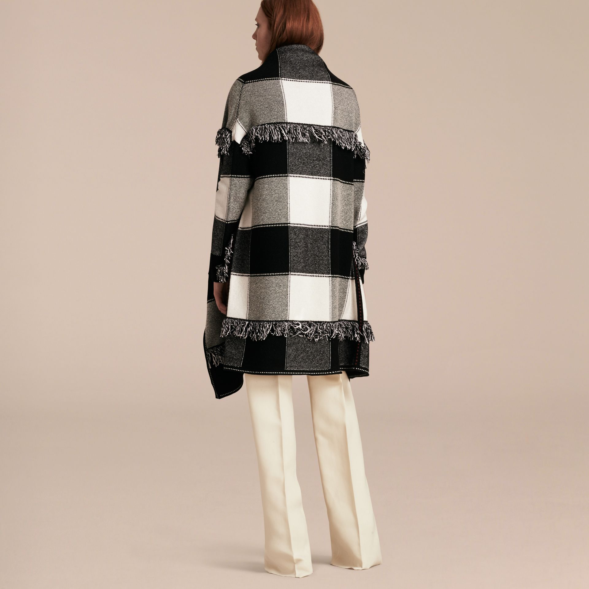 Black/white Check Wool Cashmere Knit Coat - gallery image 3