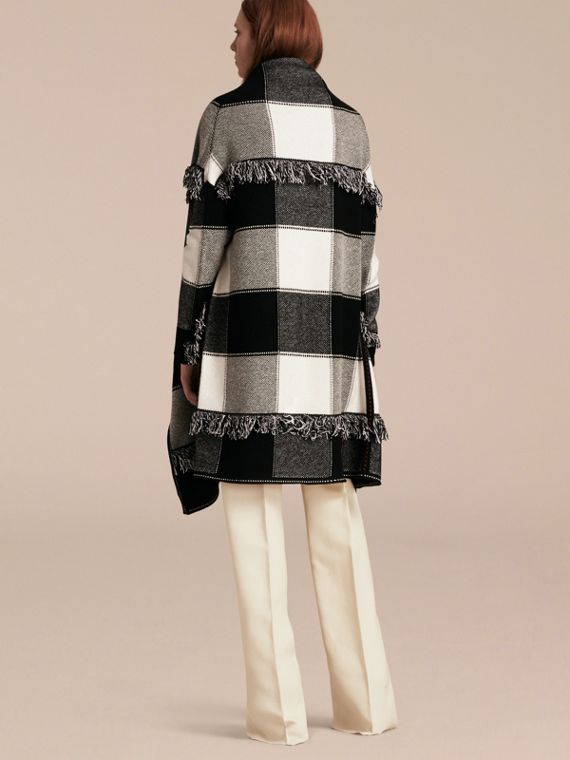 Black/white Check Wool Cashmere Knit Coat - cell image 2