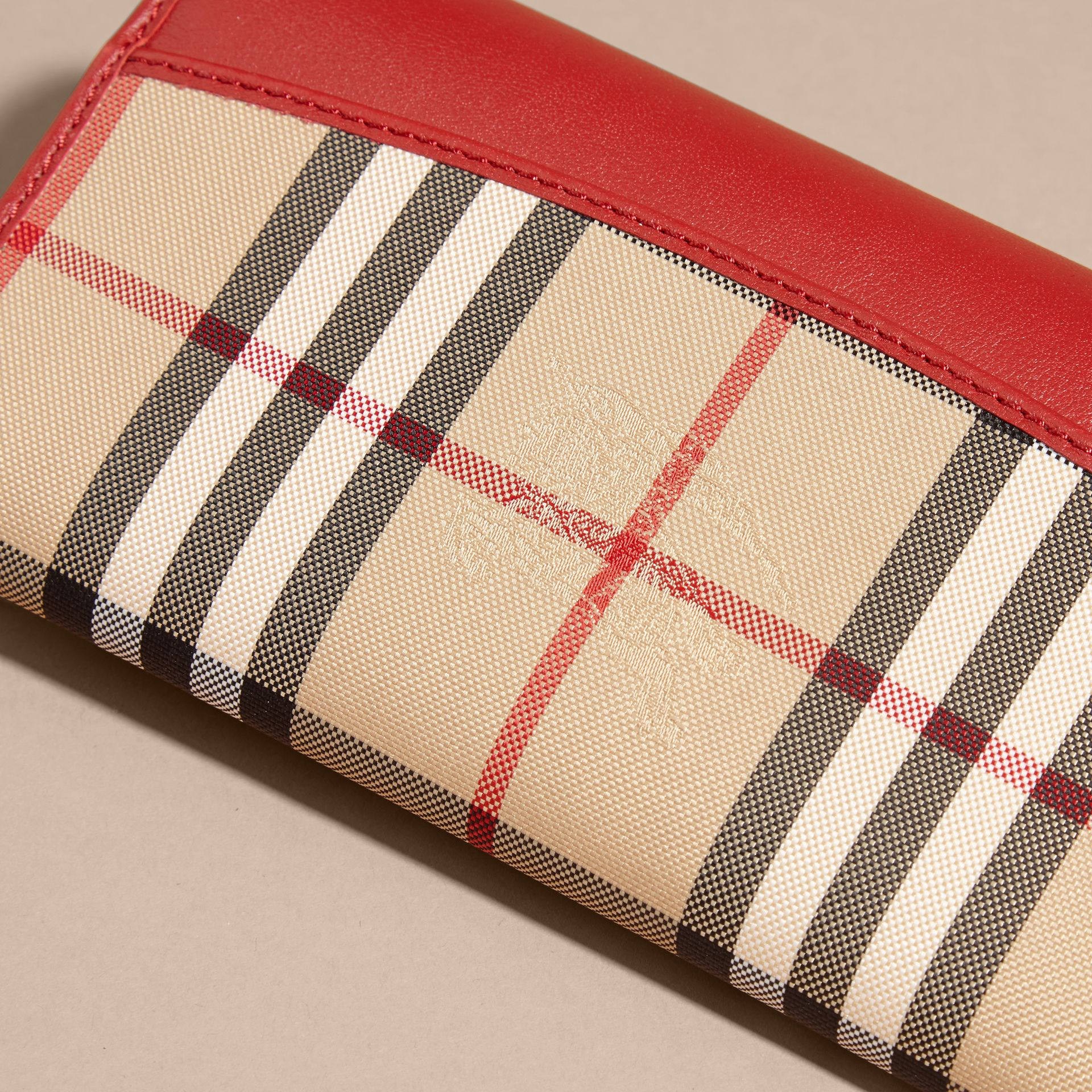 Horseferry Check and Leather Continental Wallet Parade Red - gallery image 2