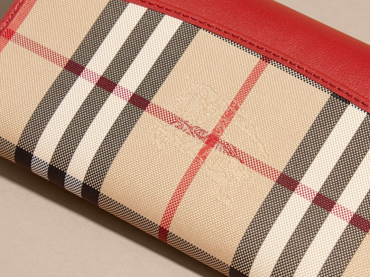 Horseferry Check and Leather Continental Wallet in Parade Red - Women | Burberry - cell image 1