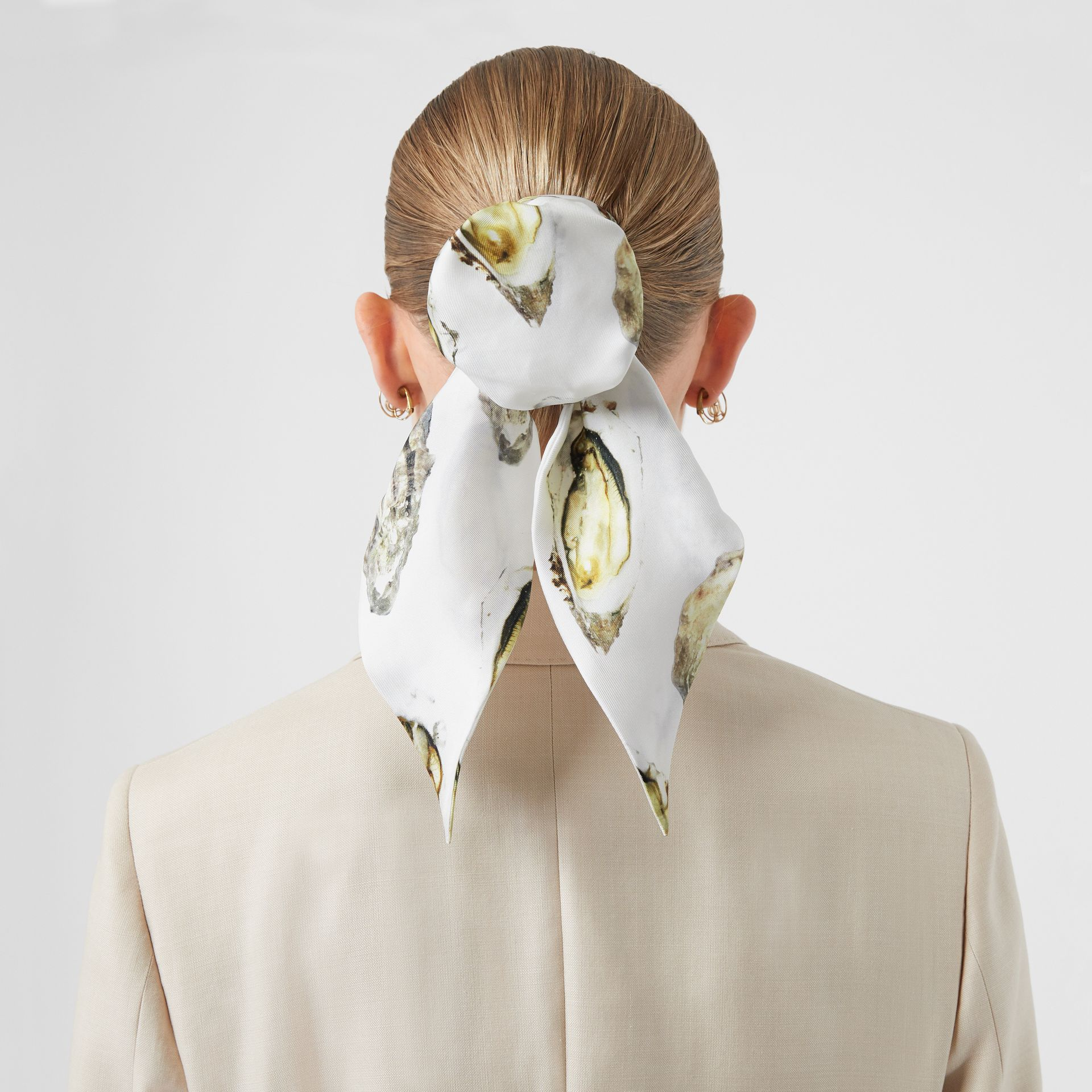 Oyster Print Silk Hair Scarf in White | Burberry - gallery image 2