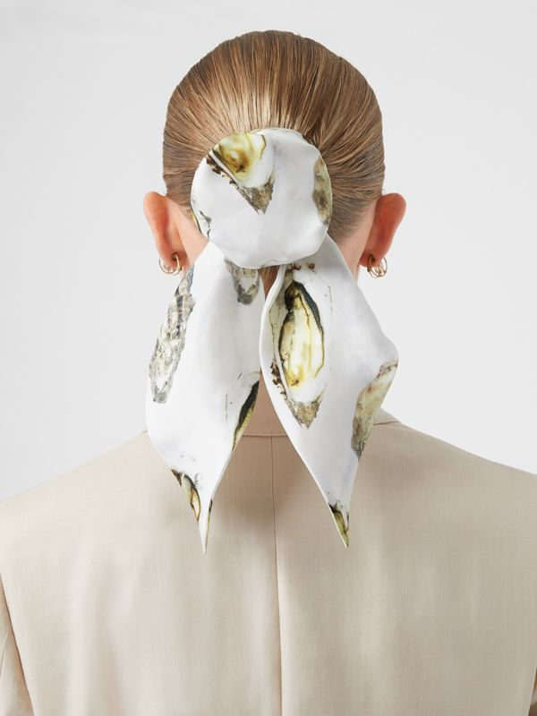 Oyster Print Silk Hair Scarf in White | Burberry - cell image 2
