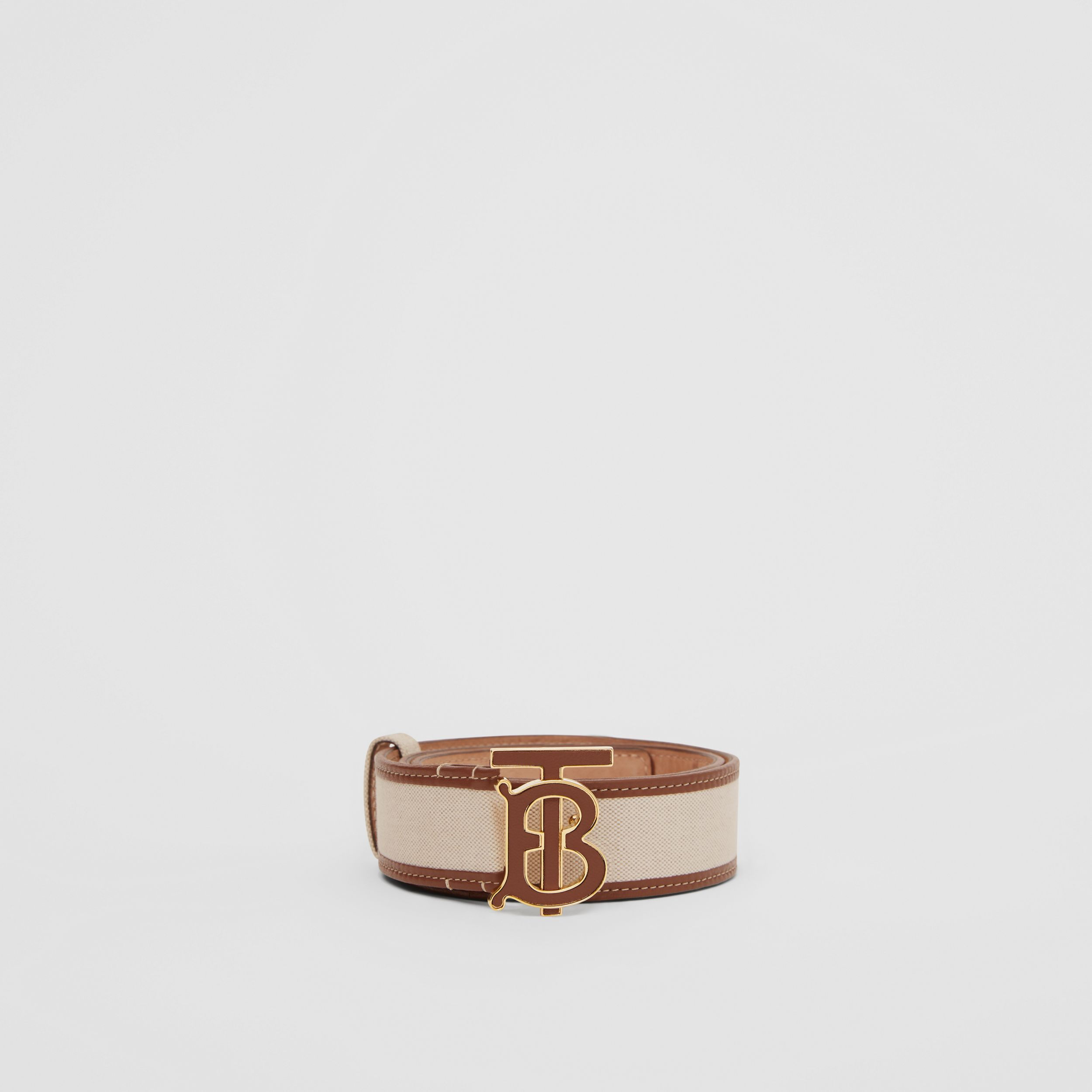 Monogram Motif Canvas and Leather Belt in Natural - Women | Burberry - 4